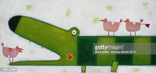 the crocodile and the three chicks - simona dimitri stock-grafiken, -clipart, -cartoons und -symbole