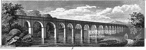 the croton aqueduct of new york - aqueduct stock illustrations, clip art, cartoons, & icons