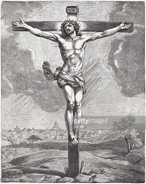 the crucified jesus, wood engraving, published c. 1880 - jesus christ stock illustrations, clip art, cartoons, & icons