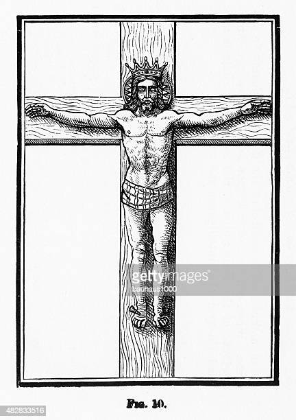 the crucifixion of christ christian symbolism engraving - crucifix stock illustrations, clip art, cartoons, & icons
