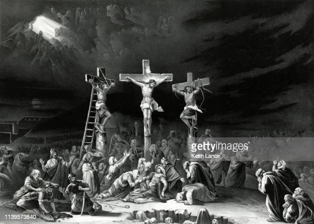 the crucifixion of jesus christ - religious cross stock illustrations