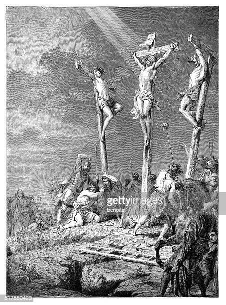 the crucifixion of jesus - crucifix stock illustrations