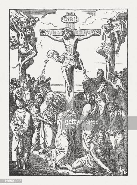 the crucifixion of jesus, wood engraving, published in 1850 - good friday stock illustrations