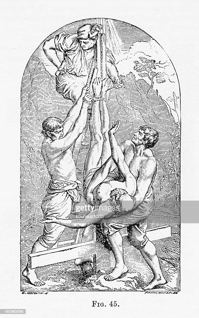 The Crucifixion of St. Peter Christian Symbolism Engraving : Stock Illustration