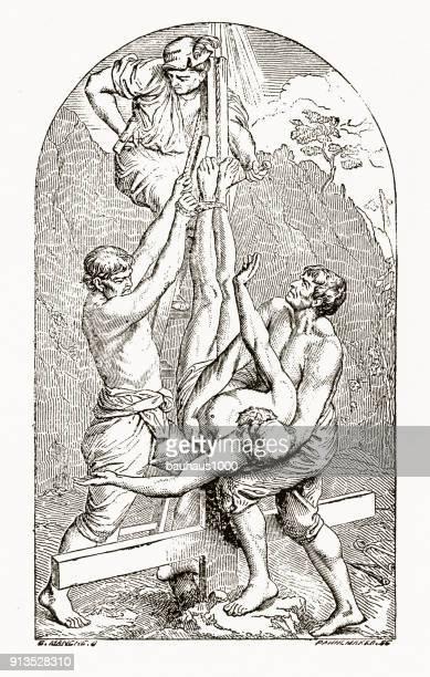 De kruisiging van St. Peter Christian symboliek gravure