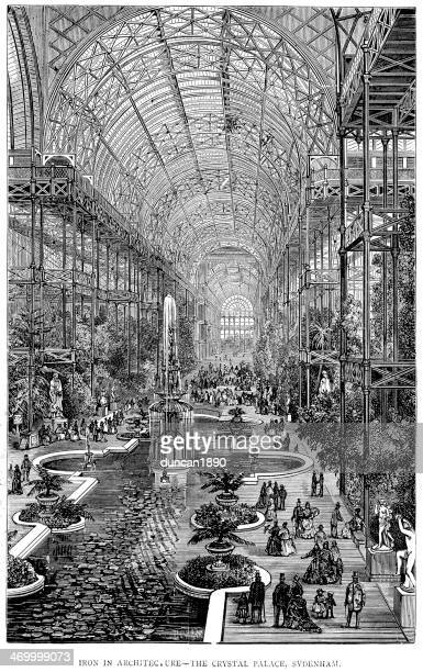 the crystal palace - great exhibition stock illustrations, clip art, cartoons, & icons