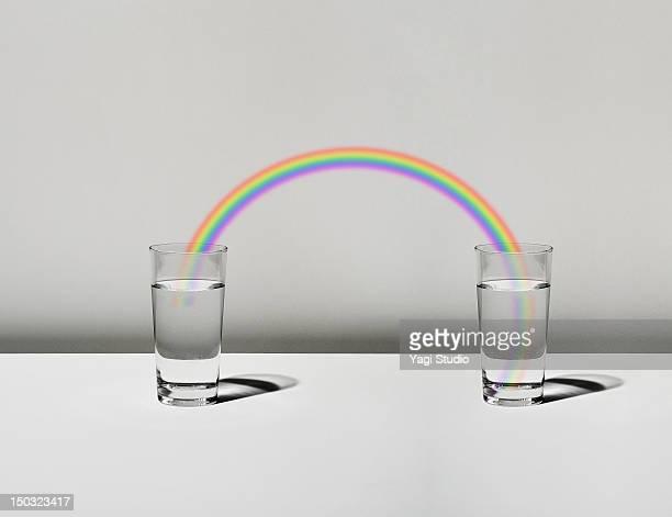illustrations, cliparts, dessins animés et icônes de the cup filled with water and a rainbow - arc en ciel