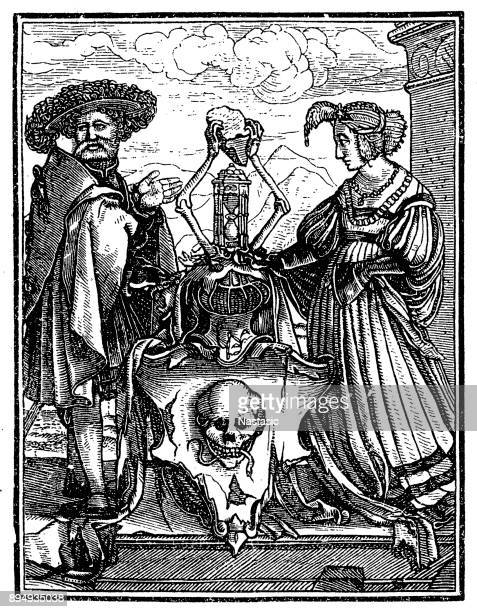 the dance of death, by francis douce - tarot cards stock illustrations, clip art, cartoons, & icons