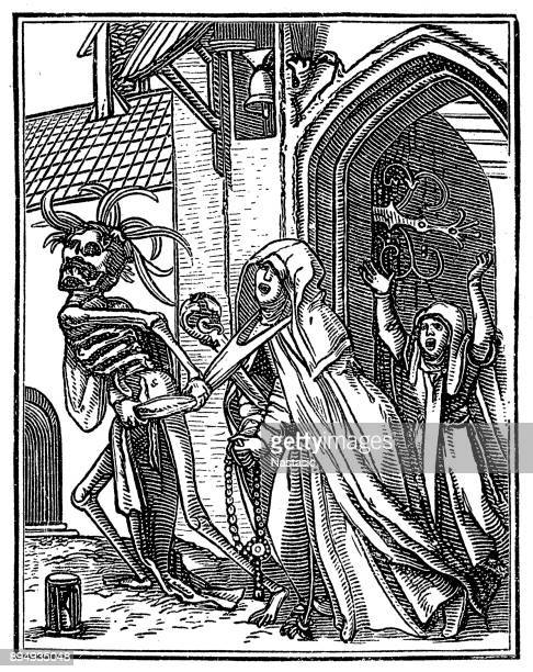 the dance of death, by francis douce - nun stock illustrations