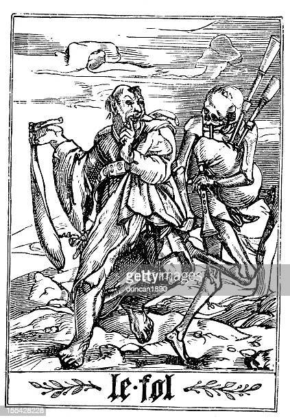 the dance of death - fool - thick stock illustrations