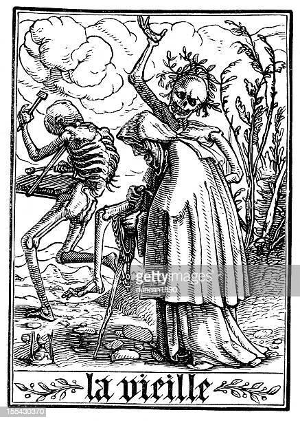 ilustraciones, imágenes clip art, dibujos animados e iconos de stock de el baile de muerte de edad, mujer - la muerte
