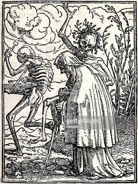 the dance of death - old woman - tarot cards stock illustrations, clip art, cartoons, & icons