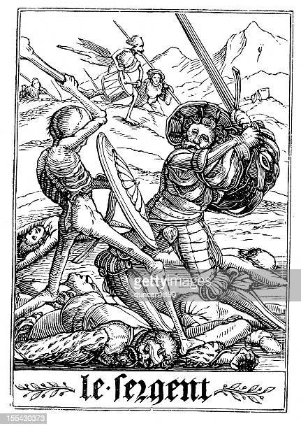 the dance of death - soldier - tarot cards stock illustrations, clip art, cartoons, & icons