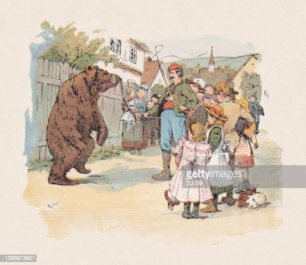 illustrations, cliparts, dessins animés et icônes de l'ours dansant, couleur woodcut, publié en 1897 - dancing bear