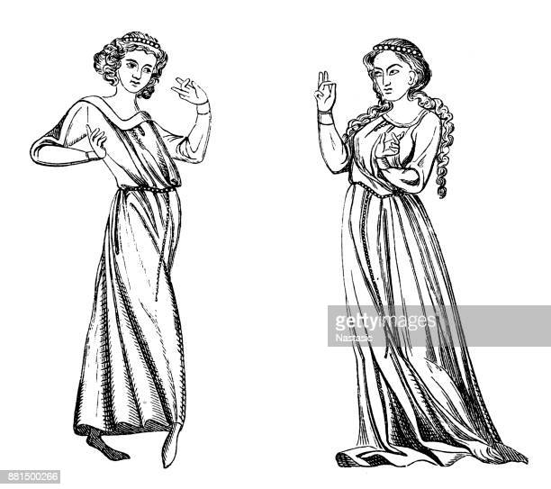 the dancing girls - greek people stock illustrations, clip art, cartoons, & icons