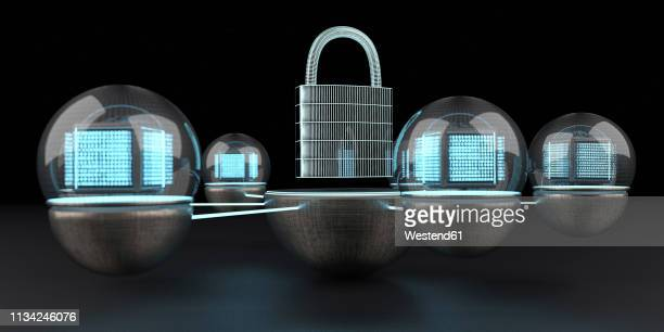 the data is protected and locked, 3d illustration - social media stock illustrations