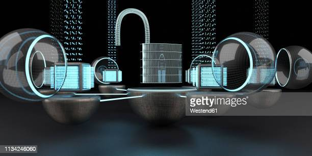 the data is unsecured and open, 3d illustration - lock stock illustrations