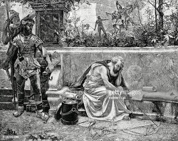 the death of archimedes - archimedes stock illustrations