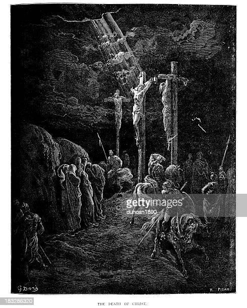 the death of jesus christ - gustave dore stock illustrations, clip art, cartoons, & icons