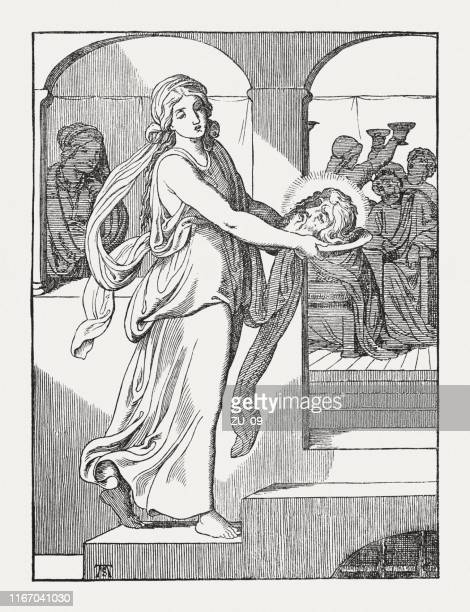 the death of john the baptist, wood engraving, published 1850 - salome stock illustrations