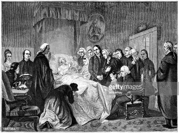 the death of john wesley (victorian engraving) - anglican stock illustrations