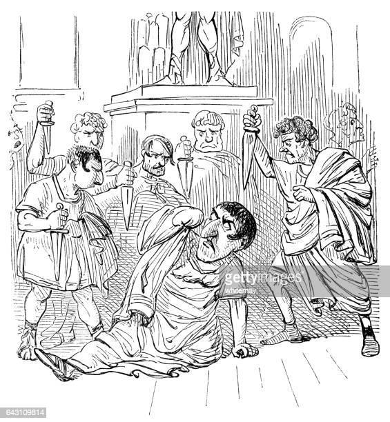 the death of julius caesar - senate stock illustrations