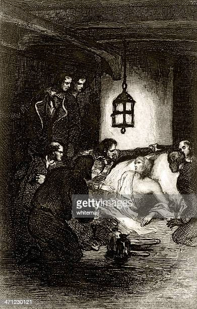 the death of nelson (1859 engraving) - admiral nelson stock illustrations