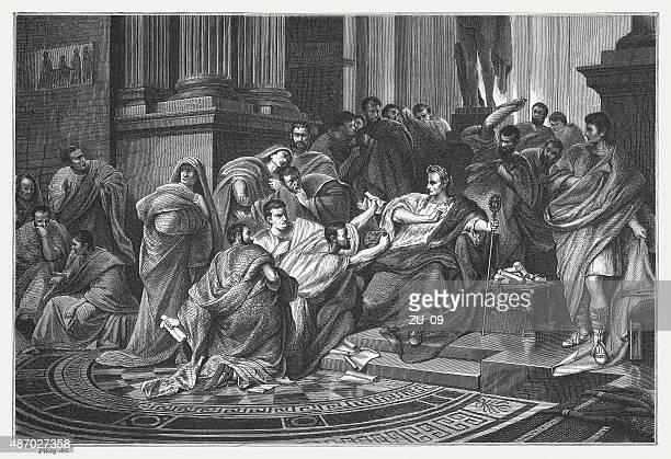caesars death, published in 1878 - emperor stock illustrations