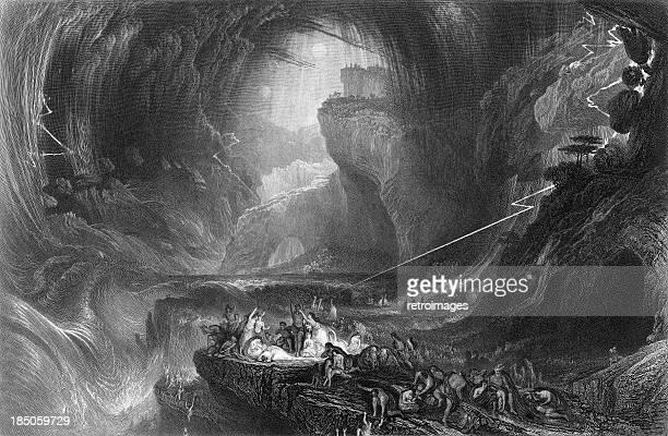 「デリュージ」(1852 )、聖書の洪水(刻印図) - ノアの方舟点のイラスト素材/クリップアート素材/マンガ素材/アイコン素材