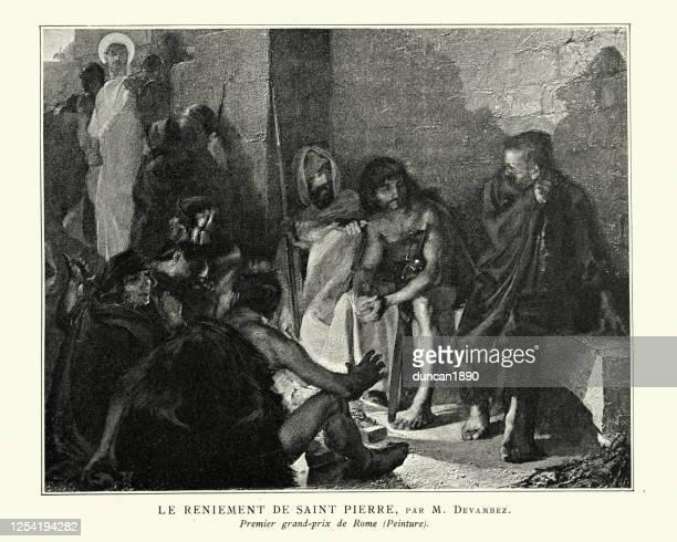 the denial of saint peter - new testament stock illustrations