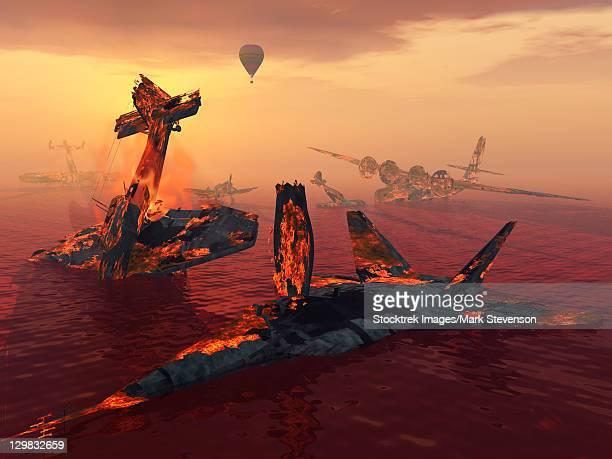 illustrations, cliparts, dessins animés et icônes de the destruction of fighter planes as the result of several wars. - catastrophe aérienne