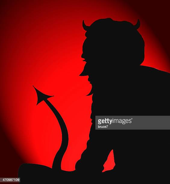 the devil sits & waits - devil stock illustrations
