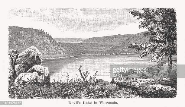 The Devil's Lake in Wisconsin, USA, wood engraving, published 1897