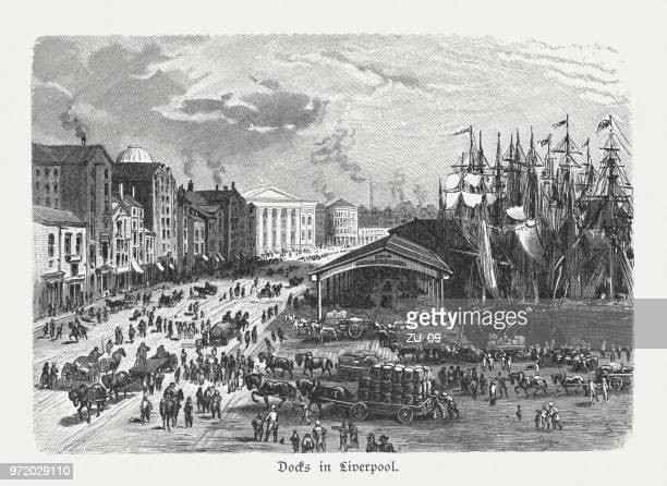 The Docks in Liverpool, England, wood engraving, published in 1897