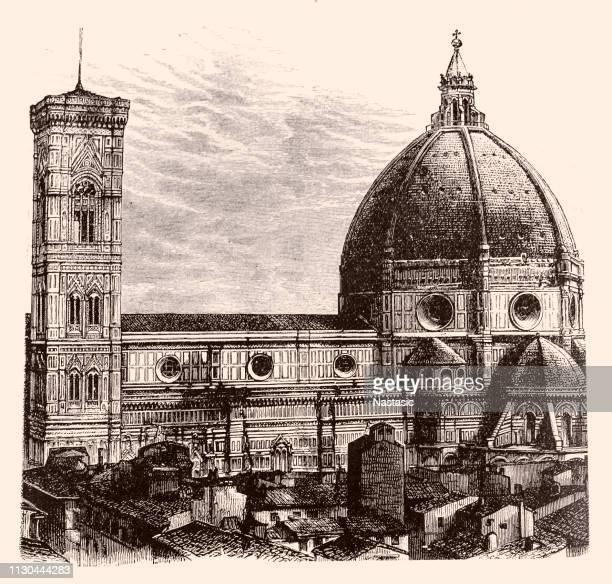 the dome of the cathedral of santa maria del fiore ,florence - duomo santa maria del fiore stock illustrations