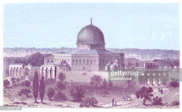 ilustrações de stock, clip art, desenhos animados e ícones de the dome of the rock in jerusalem, israel - ottoman empire 19th century - onu
