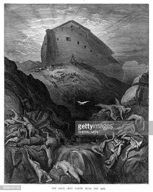The dove sent from the ark engraving 1870