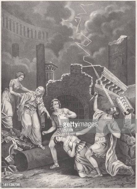 the downfall of pompeii (79 ad), lithograph, published in 1852. - mt vesuvius stock illustrations, clip art, cartoons, & icons