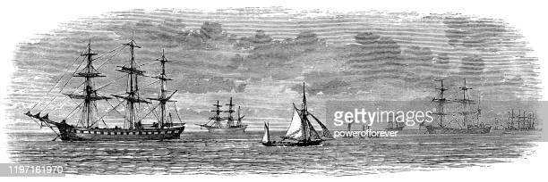 the downs area of the north sea in kent, england - 19th century - english culture stock illustrations