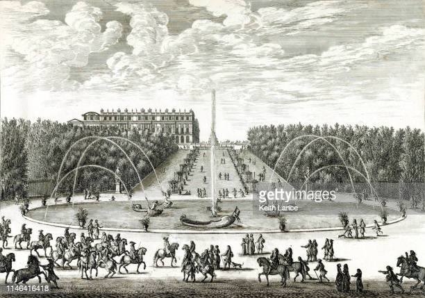 the dragon fountain at the palace of versailles - 17th century stock illustrations, clip art, cartoons, & icons