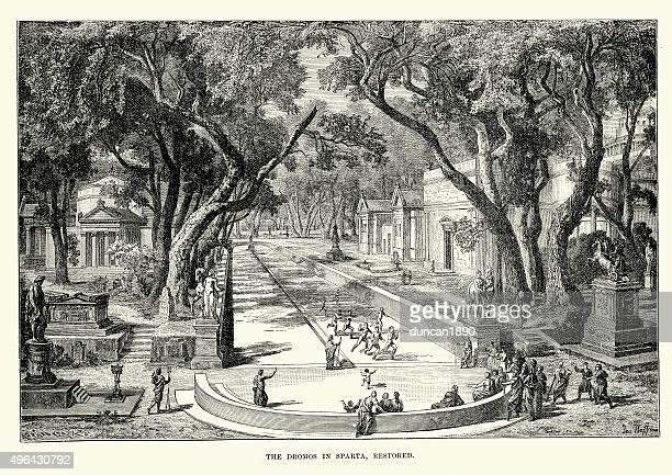 the dromos (racecourse) in ancient sparta - sparta greece stock illustrations, clip art, cartoons, & icons