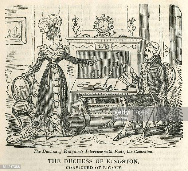 the duchess of kingston, convicted of bigamy - bigamy stock illustrations