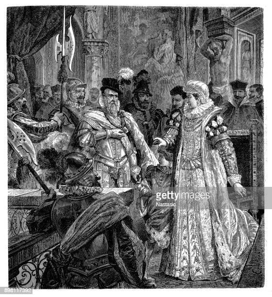 stockillustraties, clipart, cartoons en iconen met de hertog van alva presenteert zich in brussel aan de spaanse koning philip halfzuster margaretha van parma - landvoogd van de nederlanden in augustus 1567 - hertog