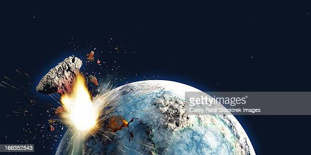 The Earth explodes from the inside and blows out a portion of the planet in the apocalypse on December 21, 2012.