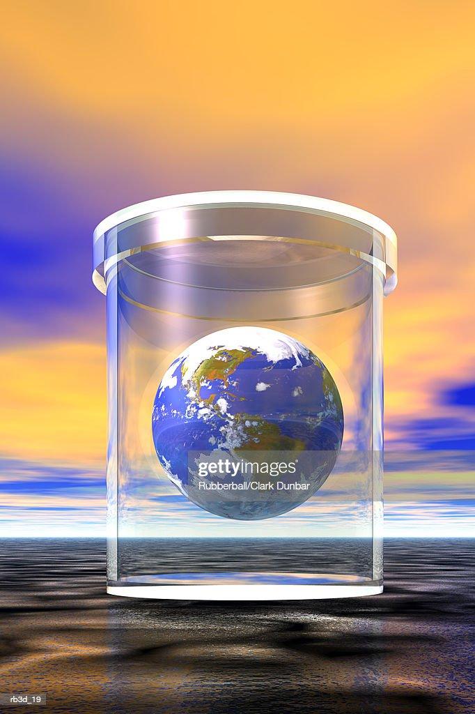 the earth floats inside a glass jar : Stockillustraties