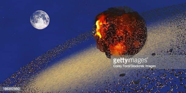 ilustraciones, imágenes clip art, dibujos animados e iconos de stock de the earth lays in ruins after an asteriod hits the planet. - llamas de fuego