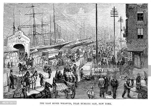 the east river wharves, new york - 19th century stock illustrations