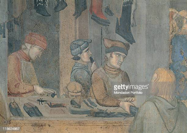 Italy, Tuscany, Siena, Palazzo Pubblico. Detail. Shoemaker's shop four male figures around a work-bench with tools shoes; footwear hung on the walls...