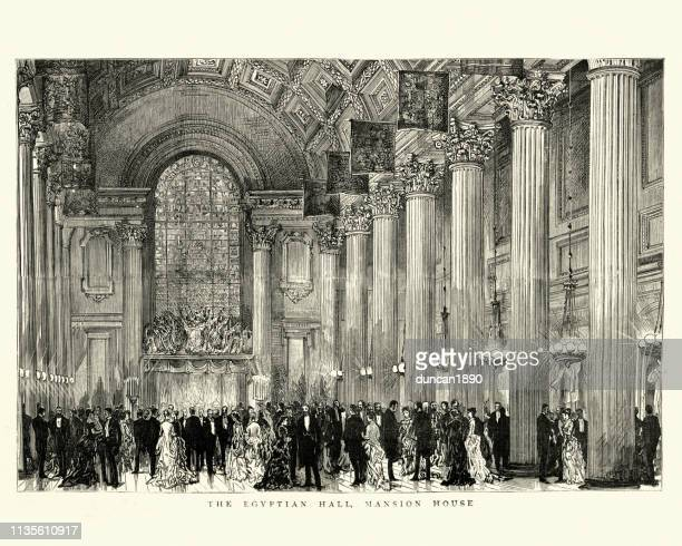 the egyptian hall at the mansion house, london, 19th century - ballroom stock illustrations