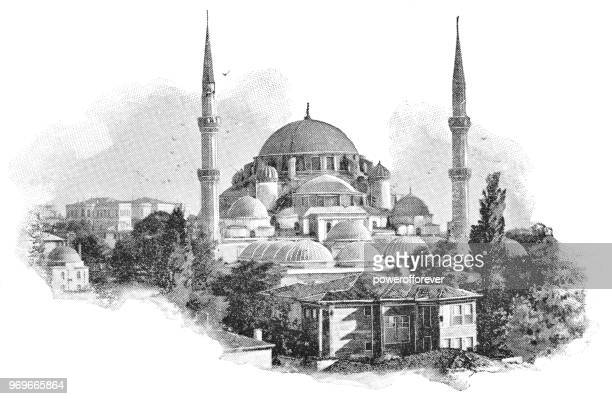 the şehzade mosque in istanbul, turkey - 19th century - mosque stock illustrations